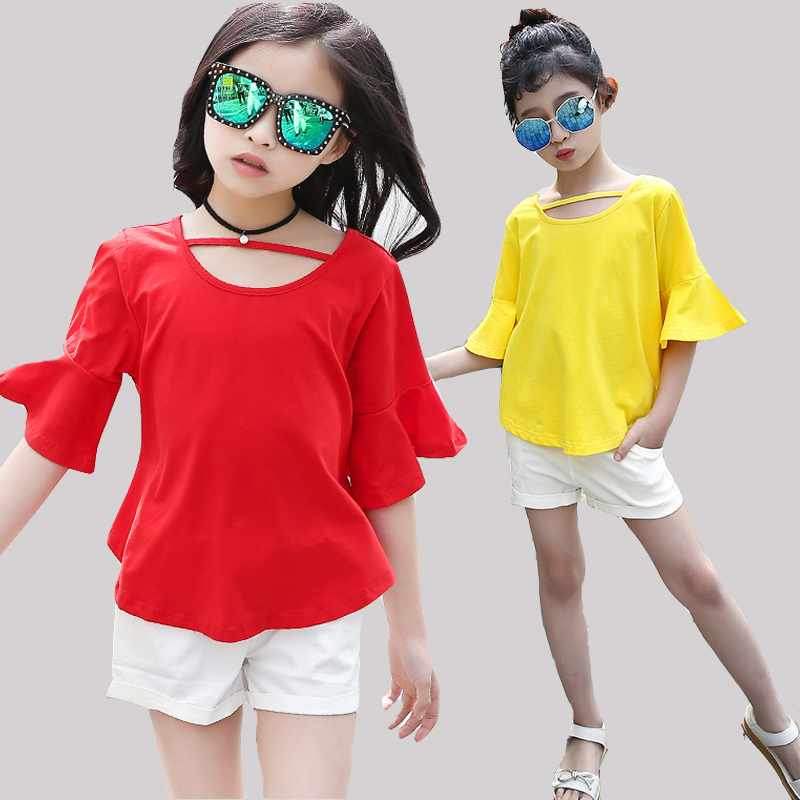 Children Clothing Sets For Girls Outfits Flare Sleeve T-Shirts & Shorts 2Pcs 2017 Summer Kids Clothes Suits 4 5 7 9 11 12 Years retail kids 2017 baby girls clothes summer girls clothing sets kids clothes girl denim t shirts denim shorts sets 2 6 years 2