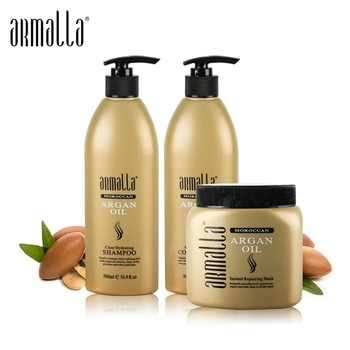 Morocco Argan Oil Treatment Damaged Dry Armalla 500ml Natural Shampoo+500ml Deep Conditioner+500ml Argan Oil Hair Mask