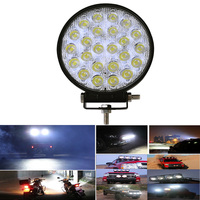 2pcs Super Bright Car LED Headlights 72W 24x3W Flood Spot Round LED Offroad Light Lamp Car