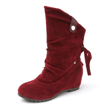 Women's Snow Boots Autumn Winter Flat Hright Increasing Warm Mid-calf Boots Women Fashion Flock Slip-on Two Wear Female Boots цена 2017