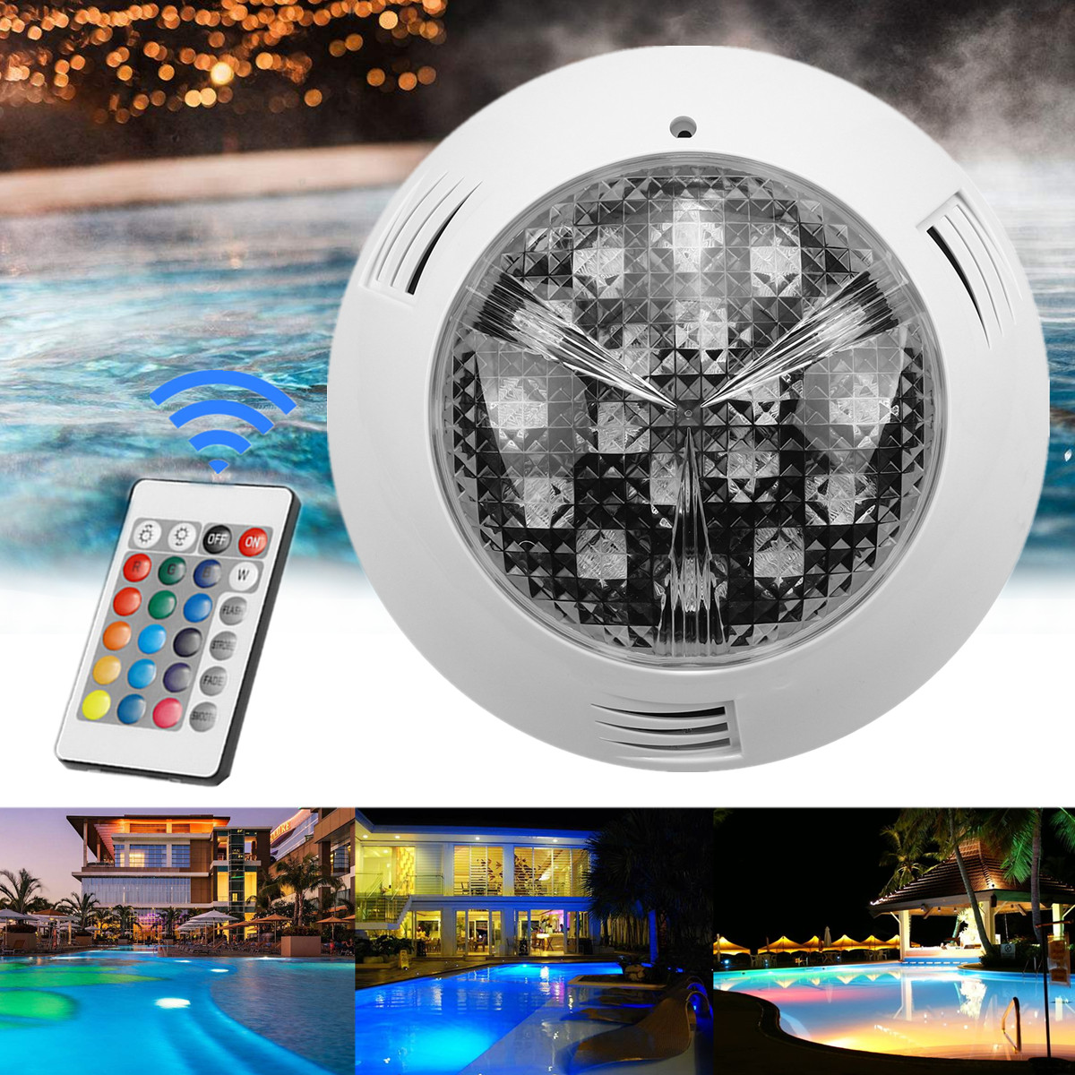 18W 24V LED RGB Colorful Swimming Pool Spa Light Underwater Lamp Remote Control Mounted Design Brightness 50000 Working Hours