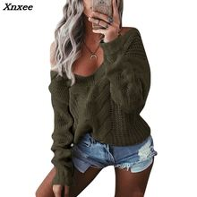 Xnxee Winter Sexy Deep V-Neck Twist Knitted Sweaters Women Long Sleeve Off Shoulder Sweater Femme 2018 Autumn Outwear