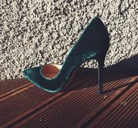 2017 Newest Sexy High Heel Shoes Pointed Toe Woman Pumps Vintage Velvet Stiletto Heels Green Black