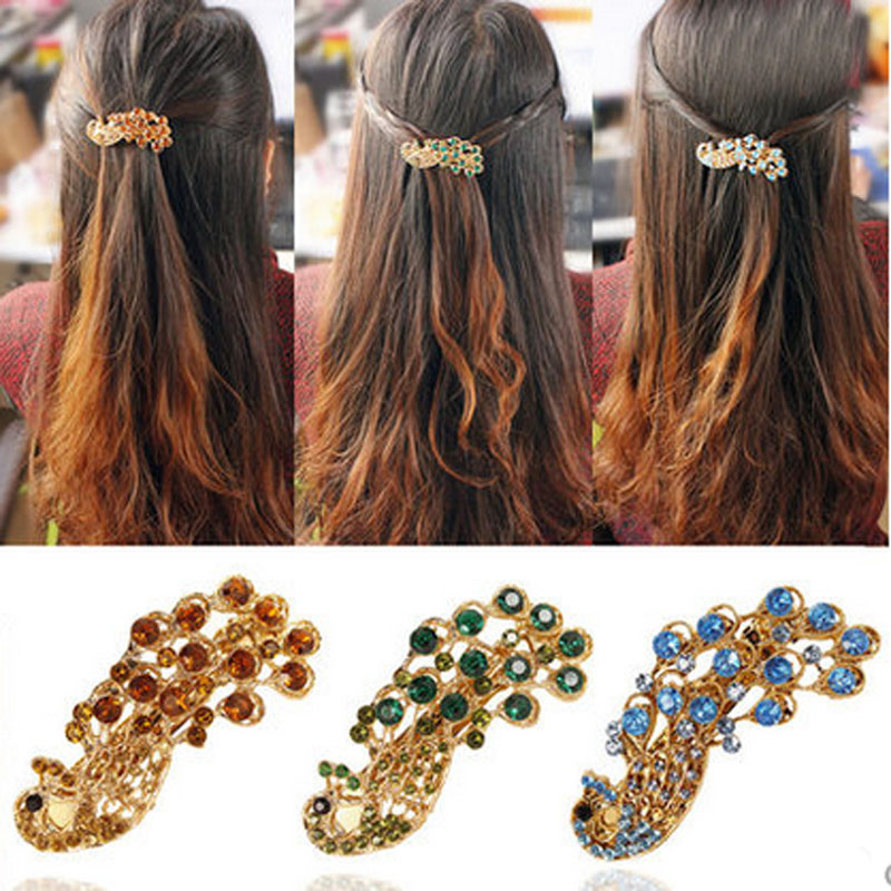Hot Sale Fashion Women Hairclip Vintage Peacock Hair Barrette Hairpin Rhinestone Hairgrip Ladies Girls Hairs Accessories