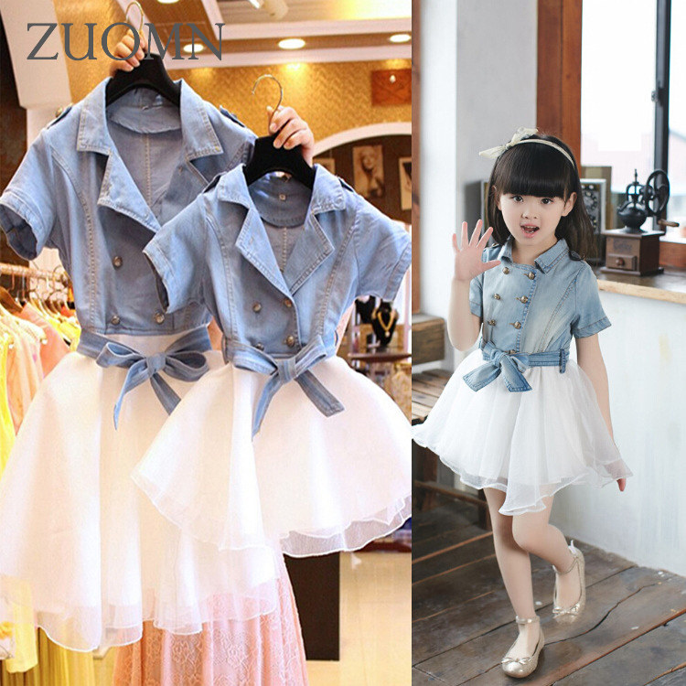 Mother Daughter Dresses Fashion Denim Coats Family Look Matching Outfits Clothes Cotton Mom And Daughter Dress Clothing GH203 2015 summer family clothing sets mother father child matching dad mom daughter son t shirt and shorts family look ma e filha