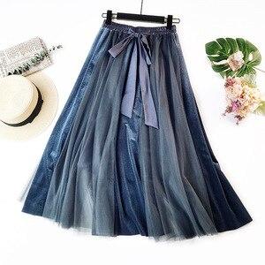 Image 2 - Hiver Vintage velours Patchwork jupe longue femmes taille haute lacets Tutu jupes Femininas Saias Krean Style vêtements