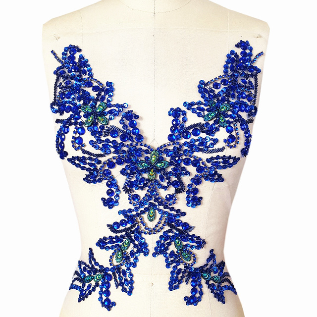 GOddess Blue Royal Beaded Rhinestone Sequin Applique Crystals Patches  29x39cm Sewing Crastal For Wedding Evening Dress Accessory 75e56389f2e1