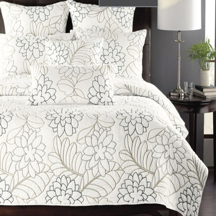 Cotton 3pcs embroidery patchwork quilt with pillow sham king size ... : quilted king size pillow shams - Adamdwight.com