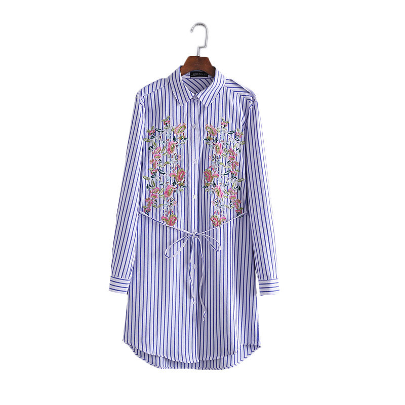 X fashion women spring summer blue striped floral