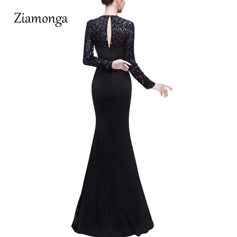 f1441a2995d64 Ziamonga Fashion Black Women Dress 2018 Top Selling Floor-Length Sequin  Lace Dress Sexy Formal Party Dresses Mermaid Long Dress