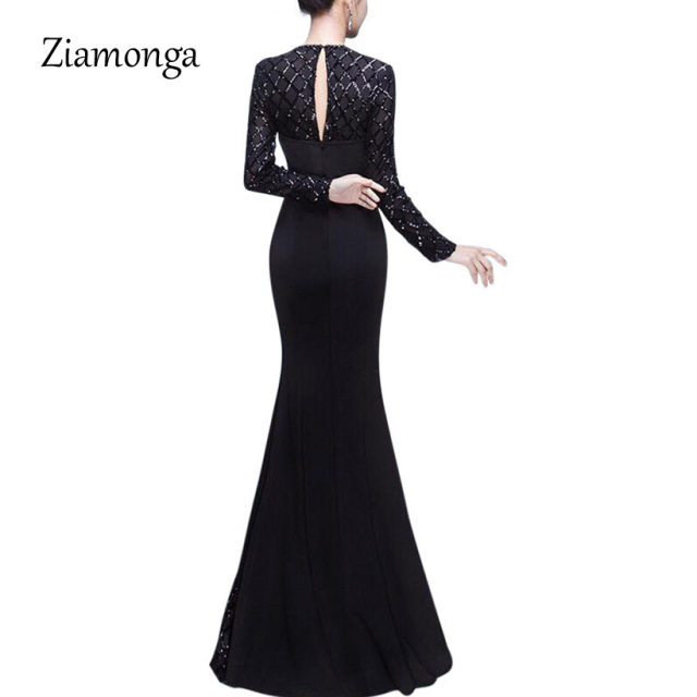 Ziamonga Fashion Black Women Dress 2019 Top Selling Floor-Length Sequin Lace Dress Sexy Formal Party Dresses Mermaid Long Dress