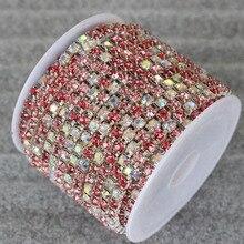 10yard/lot SS8 SS10 SS12 1 row lt amethyst silver base cup claw rhinestone chain sew on non hotfix