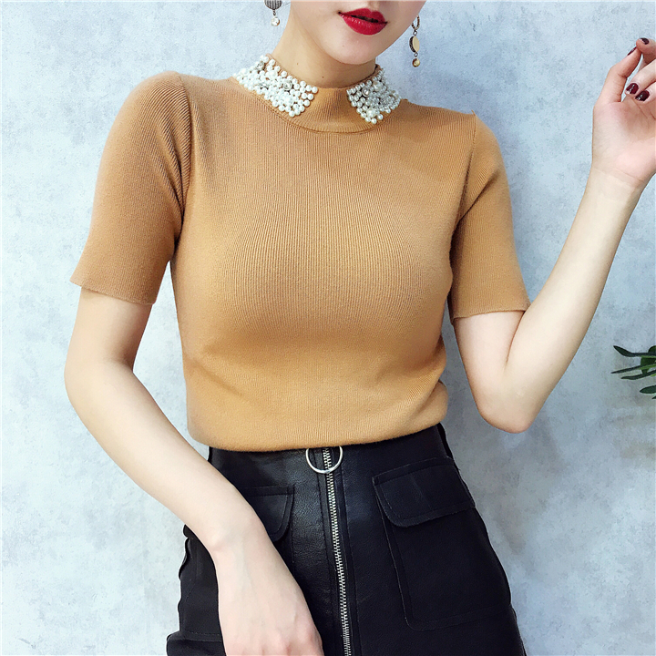 ALPHALMODA 18 Summer Ladies Short-sleeved Pearl Collar Pullovers Casual Slim Knit Sweater Women Studded Fashion Jumpers 25
