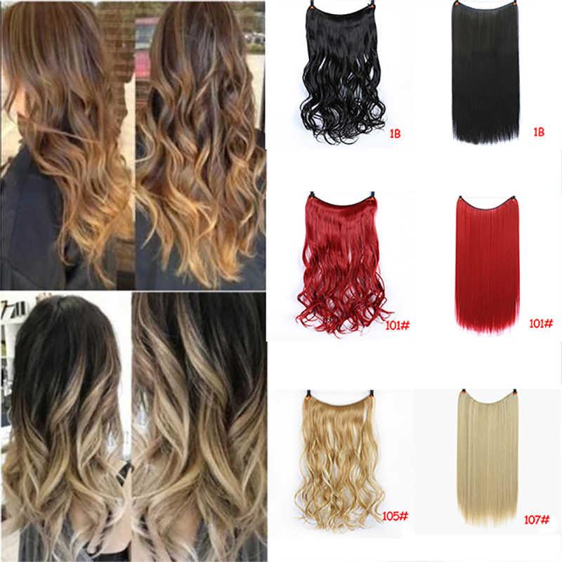 DIFEI 24 дюйма Женская леска волосы для наращивания черный коричневый Блонд натуральный волнистый длинный высокотемпературный синтетические волосы