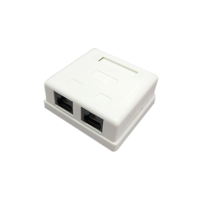 Konektor RJ45 CAT5e CAT6 Junction Box Dual Ports Desktop Box 2-port Network Cable Adapter Ethernet Extension Jenis Kawat PCB