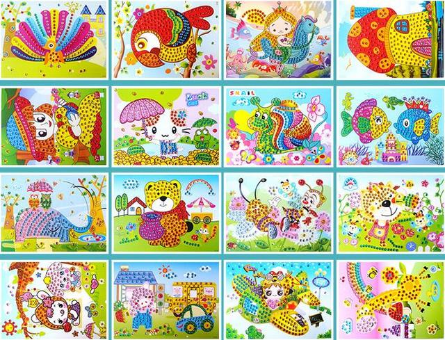 DIY Crystal Mosaic Sticker Art for Kids (10 Pieces)