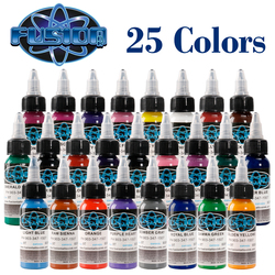 Hoge Kwaliteit Tattoo Inkt Fusion Tattoo Inkt 25 Kleuren Set 1 Oz. 30 Ml/Fles Tattoo Verf Kit Voor 3D Make-Up Beauty Skin Body Art
