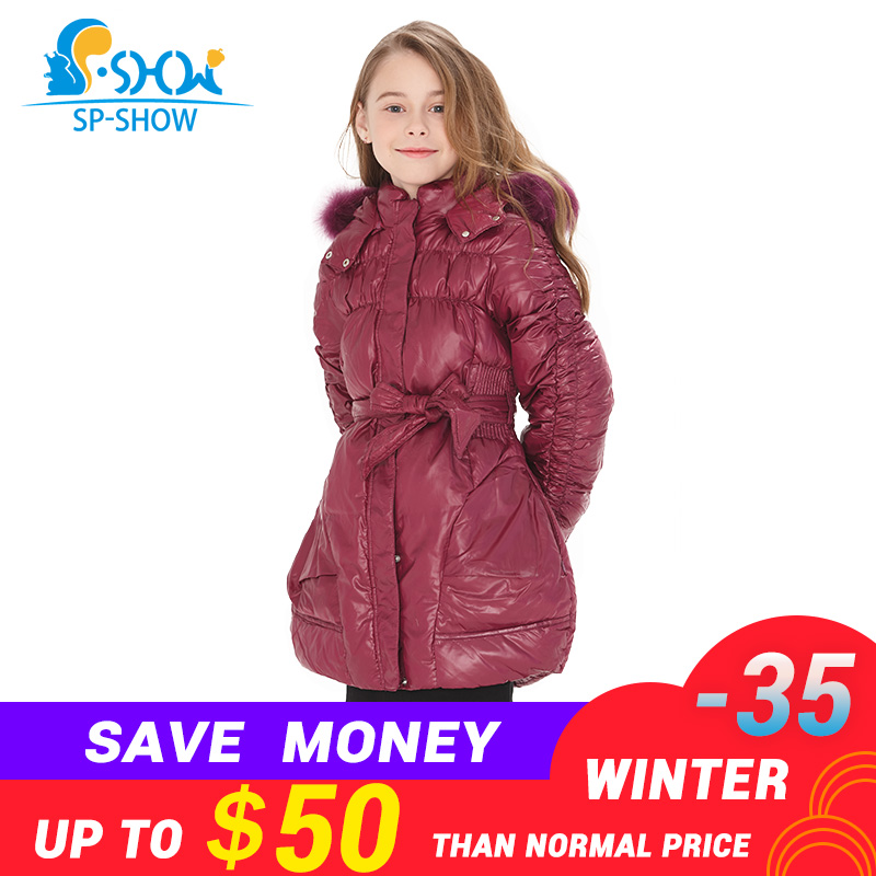 BUY 1 COAT GET 1 FREE SCARF -30 degrees SP-SHOW Winter 90% White down long coat nature fur hat New children's clothing girls