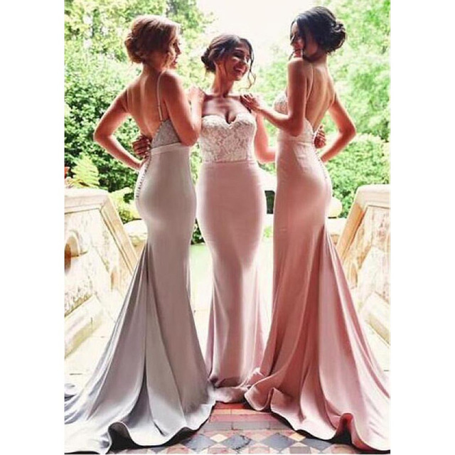 Formal Satin Lace Bridemaid Dresses Sexy Sweetheart Mermaid vestido longo Bridesmaid Gown Long Mermaid Bridesmaid Dress