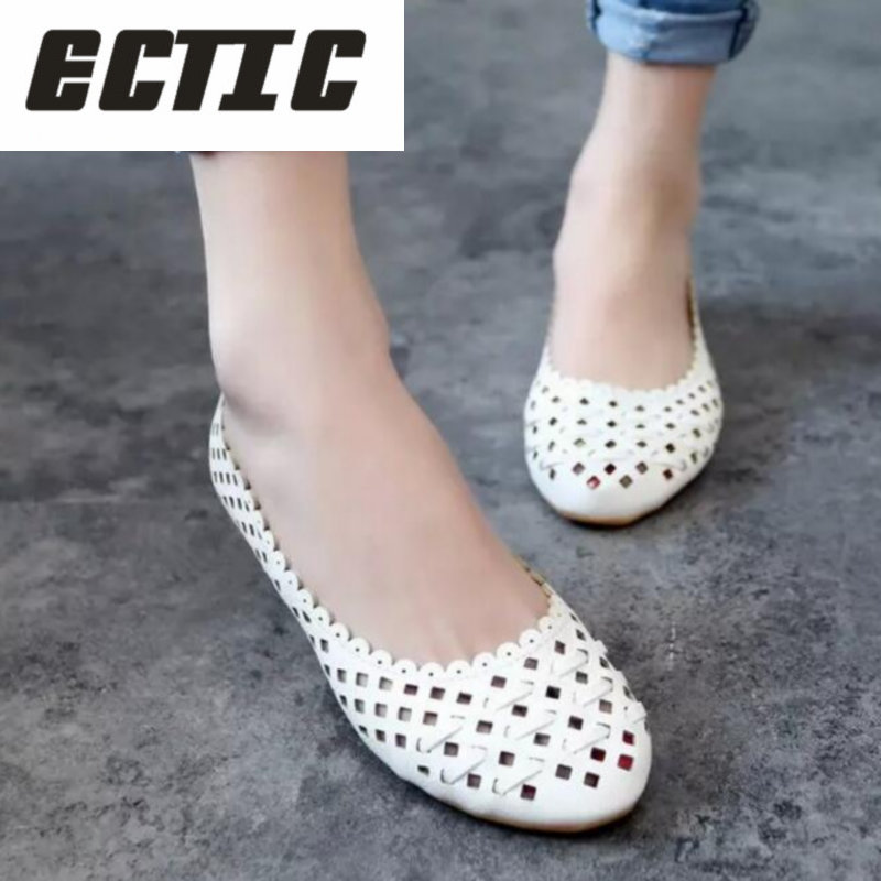 ECTIC 2018 Summer style Women Ballet Flats Round Toe Slip on Shoes Cut-outs Flats Shoes White Woman Loafers zapatos mujer YA-38 summer flat shoes women ballet flats slip on loafers women string beads round toe shoes embroidered canvas shoes zapatos mujer