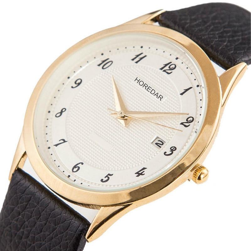 Alta calidad Auto fecha reloj de cuarzo mujeres moda oro caso reloj de  pulsera mujeres reloj de cuero 2017 caliente Relogio feminino 75c0e56a2eaf