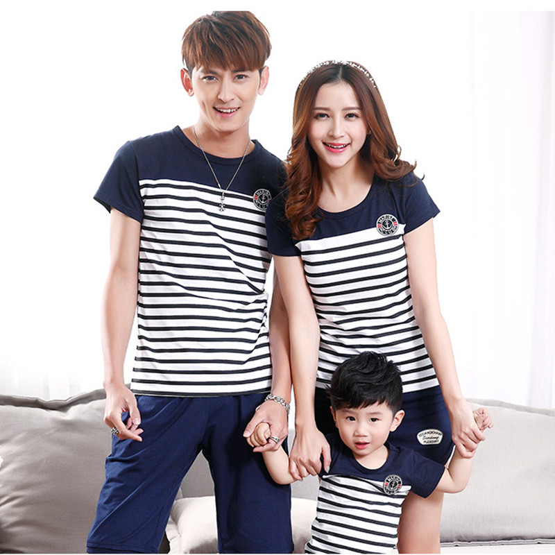 50b28e632 Family Look Navy Striped Summer Cotton Short-sleeve T-shirts Tees Matching  Clothing Outfits For Mother Daughter And Father Son