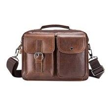 Bolso de cuero genuino de marca famosa, bandolera de hombro informal de negocios, Vintage, para hombre