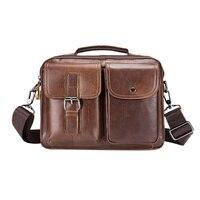 Famous Brand Genuine Leather Men Bag Casual Business Men Shoulder Messenger Bag Vintage Men's Crossbody Bags bolsas male