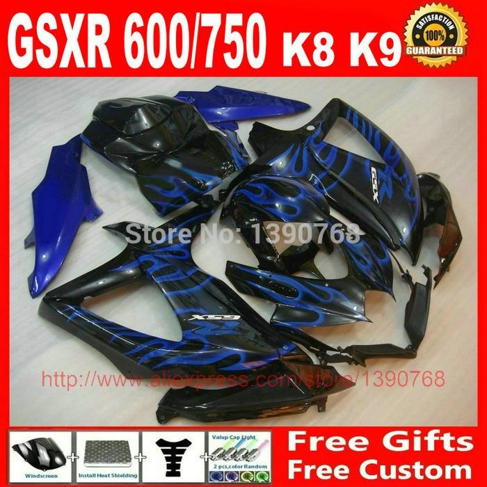 Fairings set for Suzuki 08 09 10 GSXR 600 750 K8 GSXR600 GSXR750 2008 2009 2010 blue flames in black ABS fairing body kit Q735 chic leaf elastic waist belt