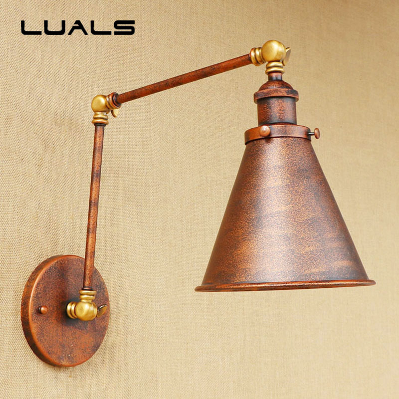 American Style Retro Wall Lamp Adjustable Loft Metal Iron Rusty Color Edison Wall Light Coffee Shop Bar Art Deco Lighting loft style suspension luminaire wrought iron vintage pendant light coffee shop creative hanging lamp bar art deco lighting