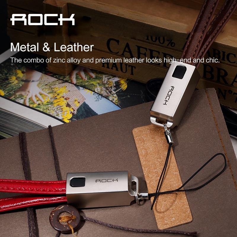 ROCK Neuestes Schlüsselbund 8 pin Metall leder Draht USB Sync Daten ...