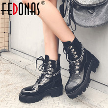 FEDONAS 2020 New Round Toe High Heels Women Ankle Boots Lace Up Patent Leather Short Boots Punk Platform Party Night Club Shoes