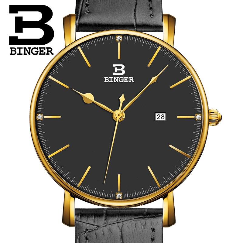 Suisse BINGER hommes de montres de luxe marque quartz bracelet en cuir ultra-mince Calendrier Complet Montres Étanche B3053M-5