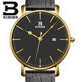 Suiza BINGER hombres relojes de marca de lujo de cuarzo correa de cuero ultrafino Calendario Completo Relojes de Pulsera Impermeable B3053M-5