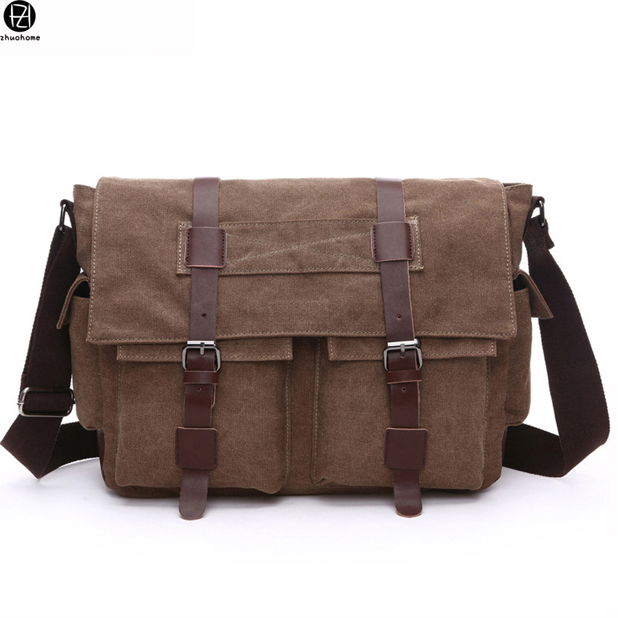 ФОТО 15.6 inches canvas men messenger bags vintage large capacity mans school bags solid shoulder Laptop bag for male hot sale