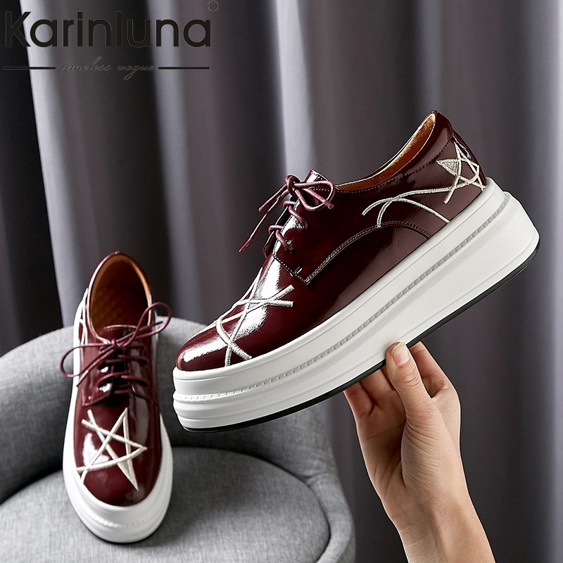 Karinluna Fashion 2019 Hot Sale Large Size 34 40 High Quality Lace Up Casual INS Shoes