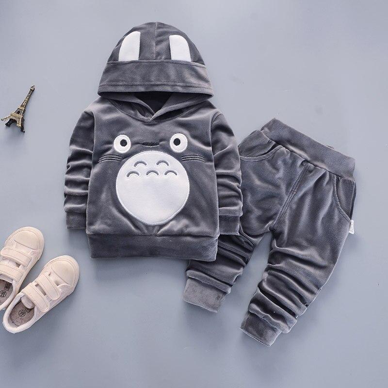2Pcs Conjuntos de Impressão Dos Desenhos Animados Do Bebê Conjunto de Roupas Meninos Primavera Outono Manga Longa Com Capuz Roupas & Calças Crianças Usam Quente outfits