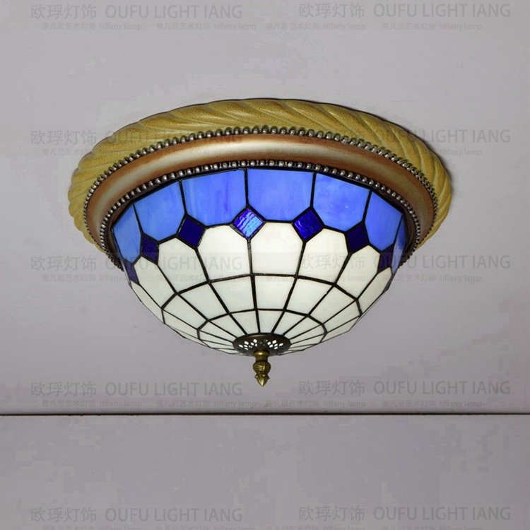 38cm Tiffany Mediterranean style natural  ceiling lights lustres night light led lamp floor bar home lighting mediterranean style tiffany shell ceiling lamp 20 25 30 35 40cm e27 ac 110 240v led ceiling lights luminarias light fixture