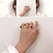 AOMU, новинка, цветные прозрачные кольца с бусинами для женщин, аксессуары, имитация жемчуга, размер, регулируемое кольцо, открытие, ювелирный набор