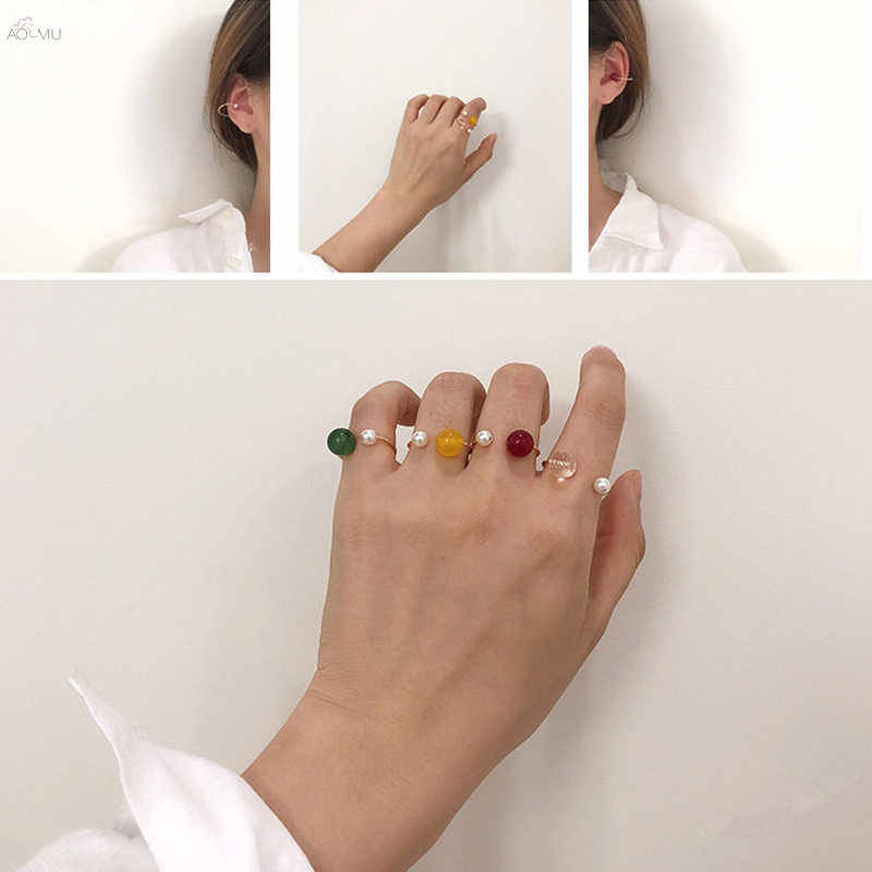 AOMU 2019 New Colorful Transparent Beads Rings For Women Accessories Imitation Pearl Size Adjustable Ring Opening Jewelry Set