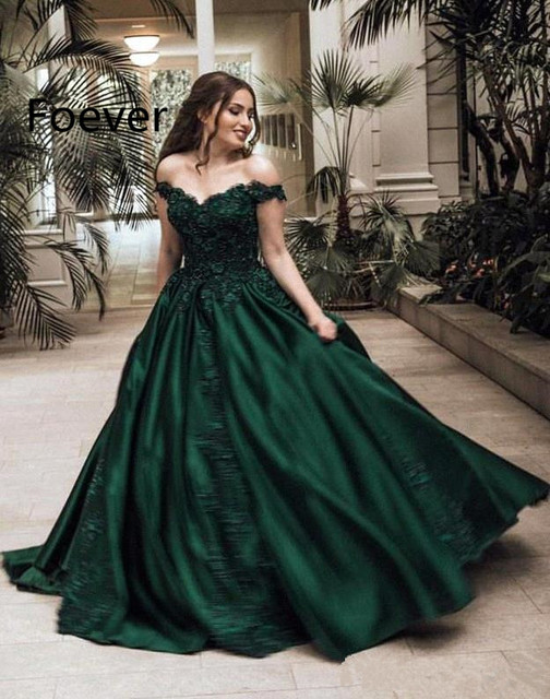 300ed5144cd45 US $152.99 15% OFF|2019 Arabic Elegant Dark Green Satin Evening Dresses  Formal Off Shoulders Appliqued Sequined Long Pageant Prom Gowns Custom  Made-in ...