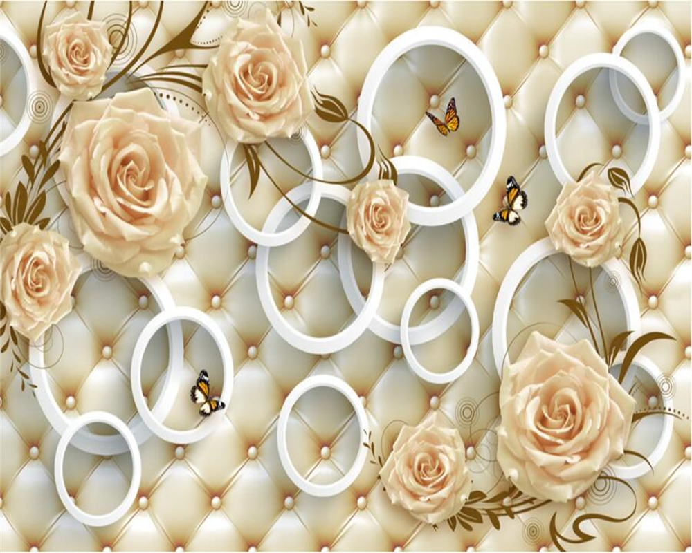 Us 885 41 Offcustom Wallpaper Yellow Rose Flower Vine 3d Stereo Circle Soft Bag Tv Background Wall Home Decoration 3d Wallpaper Beibehang In