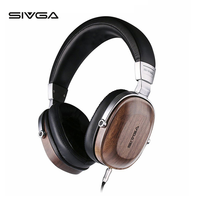 SIVGA SV006 Wooden over ear Headset Headphones Earpiece With Microphone Hifi Stereo 50mm Plated Beryllium Dynamic