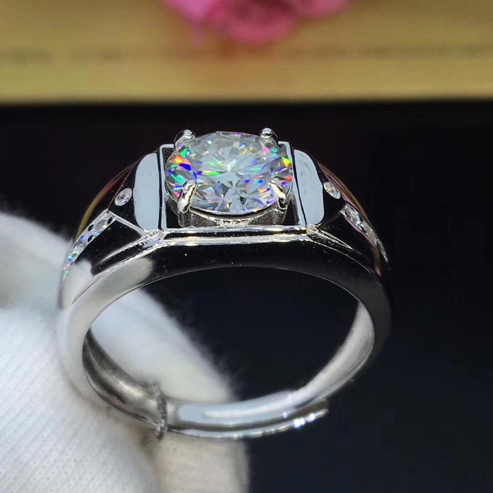 Round Silver Moissanite Ring 2ct 8.00mm D VVS Luxury Moissanite Weding Ring for Mens