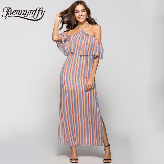 402b8aedf Benuynffy Boho Print Ruffle Halter Long Dress Summer Women Vacation Beach  Casual Off Shoulder Side Slit Striped Maxi Dress