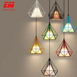 Luz pingente de gaiola de ferro preto moderno minimalista Escandinavo retro loft pirâmide pingente lâmpada gaiola de metal com E27 ZDD0001