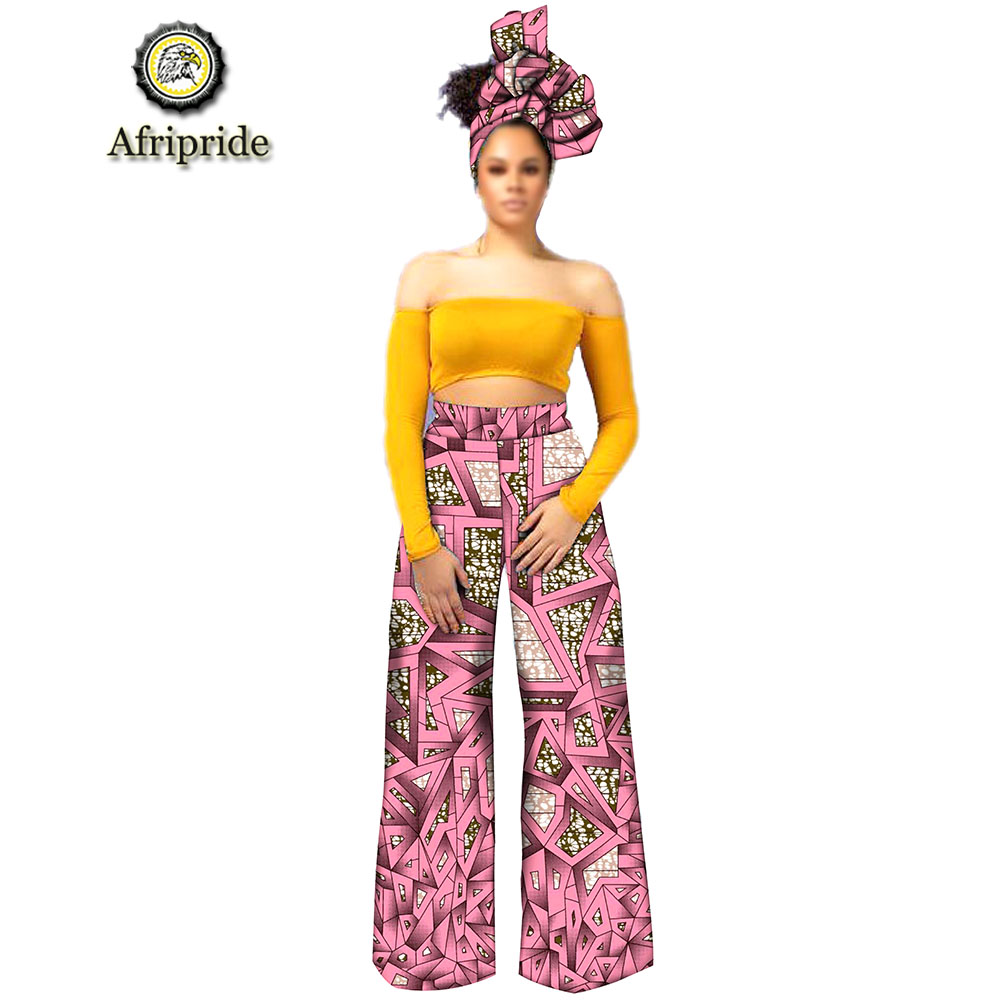 2019 Afripride African Dresses For Woman Bazin Riche Embroidery Design Pants Long With Scarf S1921002