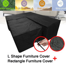 Waterproof Garden Rattan Corner Furniture Cover Outdoor Sofa Protect L Shape Kit UV-resistant Polyethylene Cover S M L XL(China)
