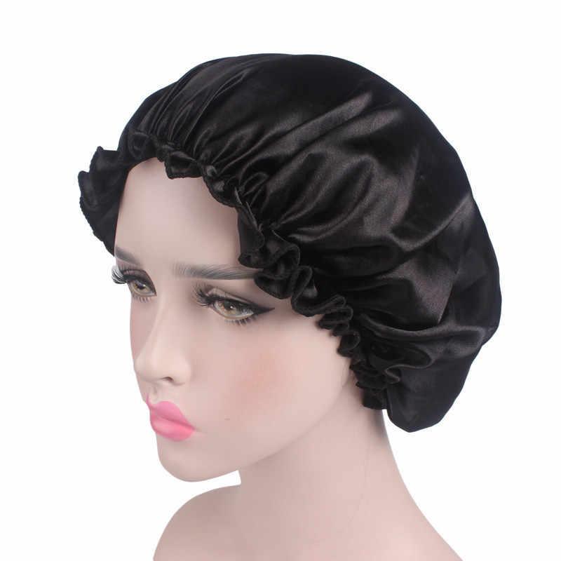 Новая модная женская атласная шапка для ночного сна, шляпа для волос, шелковая Крышка для головы, эластичная лента, ночная рубашка для ванной, спа-шапочка, de nuit
