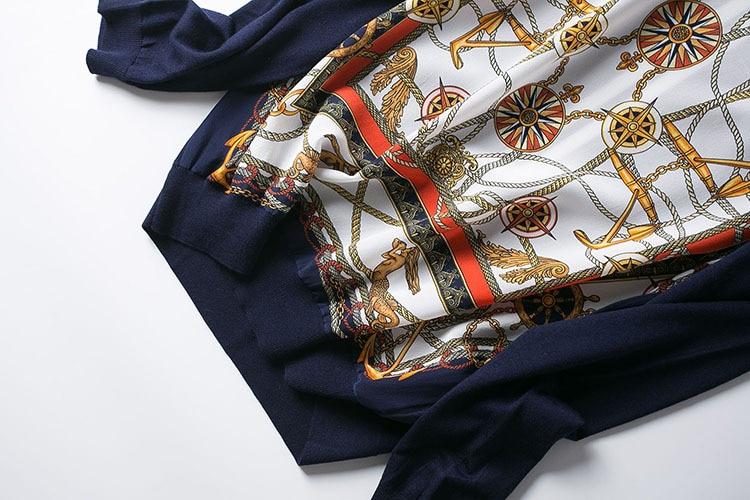 جديد الملابس الأوروبية والأمريكية الراقية بوتيك البرتقال مربع الطباعة موجة ضرب عودة اللون متماسكة طويلة الأكمام-في البلوفرات من ملابس نسائية على  مجموعة 3